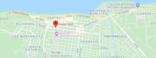 hostel kosh bariloche mapa ubicacion